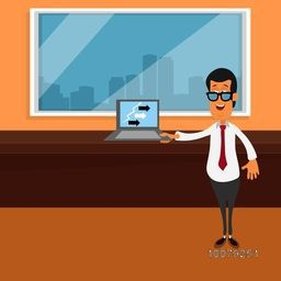 Illustration of Young Businessman showing his success by laptop at office for Business concept.