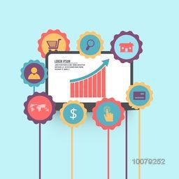 Creative Infographic elements set with colorful growing bar on laptop for Business concept.