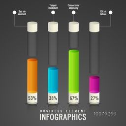 Creative Business Infographic layout with colorful glossy statistical bar on grey background.