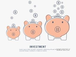 Investment and Saving concept with dollars falling into piggy banks.