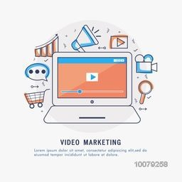 Video Marketing concept with creative Infographic elements, features and laptop showing video screen.