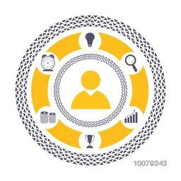 Creative different symbols in a circle for Business concept.