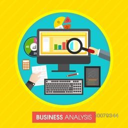 Business Analysis concept with illustration of businessman hands working on digital devices.