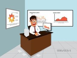Illustration of a young Businessman at office for Business concept.