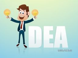 Young smiling Businessman holding bulb for Idea concept.