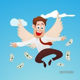 Young successful Businessman flying in sky with dollar for Business progress concept.