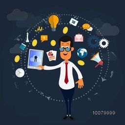 Illustration of a happy businessman using tablet and various symbols on blue background.
