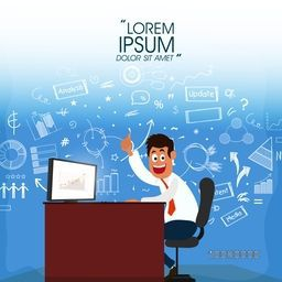Illustration of a young Businessman showing thumbs up on his success with infographic elements on shiny background.
