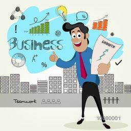 Illustration of a young Businessman holding growth chart on infographic elements decorated background.
