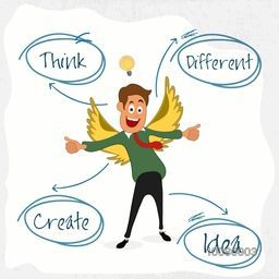 Illustration of young Businessman in wings with different ideas for successful Business.
