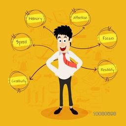 Illustration of a young Businessman with different ideas for successful Business.