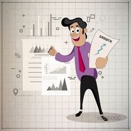Illustration of a young happy Businessman showing statistical graph for Business presentation.