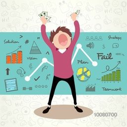 Illustration of a Businessman holding money in his hands on infographic elements decorated background.