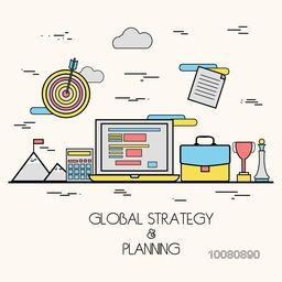 Modern flat style illustration of Global Business Strategy and Market Planning for responsive website, printed or promotional material concept.