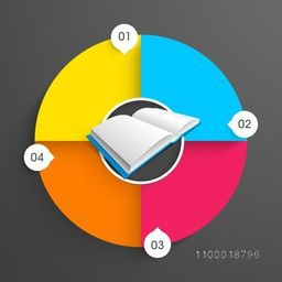 Creative colorful business infographic layout with blank open book and numbers.