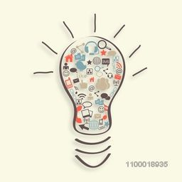 Creative illustration of social media icons in a bulb for idea and technology concept.