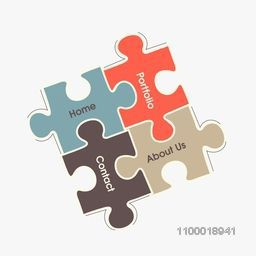 Creative business infographic layout with puzzles for web development.
