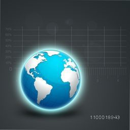 Glossy world globe on statistical graph background for your business.