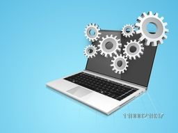 Illustration of a Laptop with 3D cogwheel sign or symbol for business concept.
