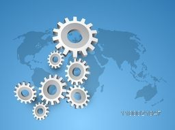 3D cogwheel, gear or setting symbol on world map for business concept.