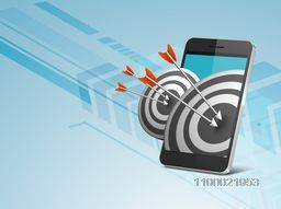 Vector target and arrow coming out from smartphone for business concept.