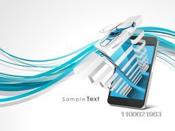Illustration of a smartphone with creative architectural building on abstract waves background.