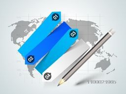 Paper infographic layout with numbers and pencil on world map for business concept.