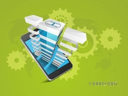 Vector smartphone with building on cogwheel decorated background.