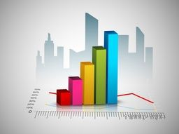 3D colorful statistical bar on urban city building background for business concept.