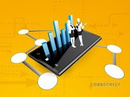 3D statistical bar with businesswomen on smartphone and social networking circle.