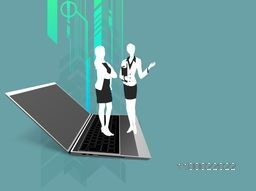 Young businesswomen standing on laptop for business concept.