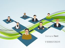 Vector illustration of business people connecting by social networking circle.