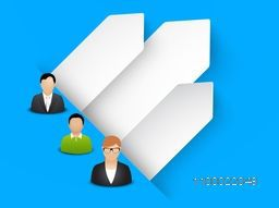 Vector business people sign or symbol with blank infographic papers.