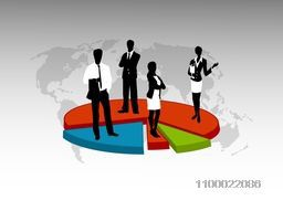 Black and white illustration of business people standing on 3D colorful pie chart.