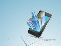 Illustration of a smartphone with architectural building.