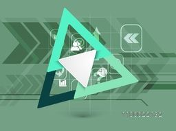 Business infographic triangle with web sign or symbols.