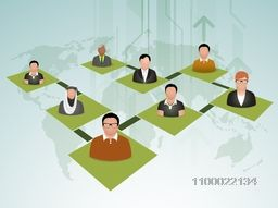 Illustration of business peoples connected by social networking server.