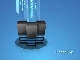 Illustration of Server on abstract background for Networking and Technology concept.