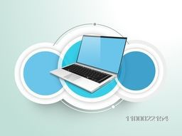 Illustration of a laptop with blank sticker or label for business concept.
