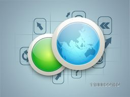Glossy world globe button with web sign or symbol for business concept.