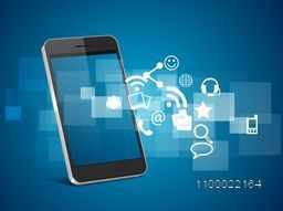 Illustration of a smartphone with web sign or symbols for business concept.