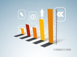 Colorful creative statistical bar with web sign or symbol for business concept.