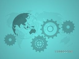 Vintage background with cogwheel sign or symbol and world globe for business concept.