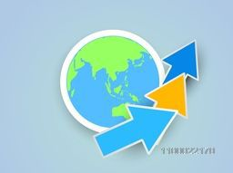 Creative paper arrows with world globe for business concept.