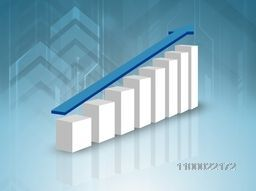 Creative 3D infographic statistical bar with arrow for business concept.