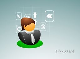 Vector illustration of a business woman symbol with web icons.