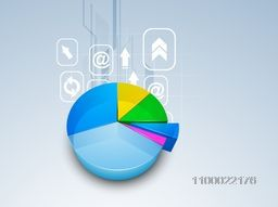 3D colorful pie chart with web sign or symbols for business concept.