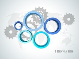 3D circles with cogwheel sign or symbols for business concept.