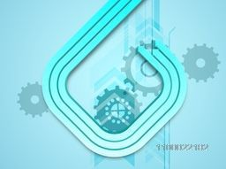 3D glossy abstract arrows with cogwheel or setting symbol for business concept.