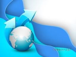 Illustration of a world globe with 3D glossy arrows on abstract waves background for business concept.